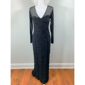 Vintage 80's Dress Cocktail Ruched mesh sleeve